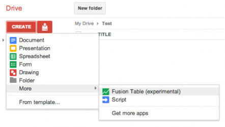 Create a new Google Fusion Table